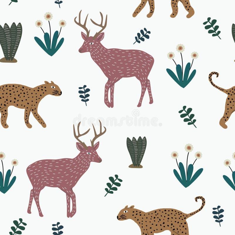 Modello animale sveglio di vettore con il leopardo, i fiori ed i cervi disegnati a mano delle alci Animali divertenti variopinti  illustrazione di stock