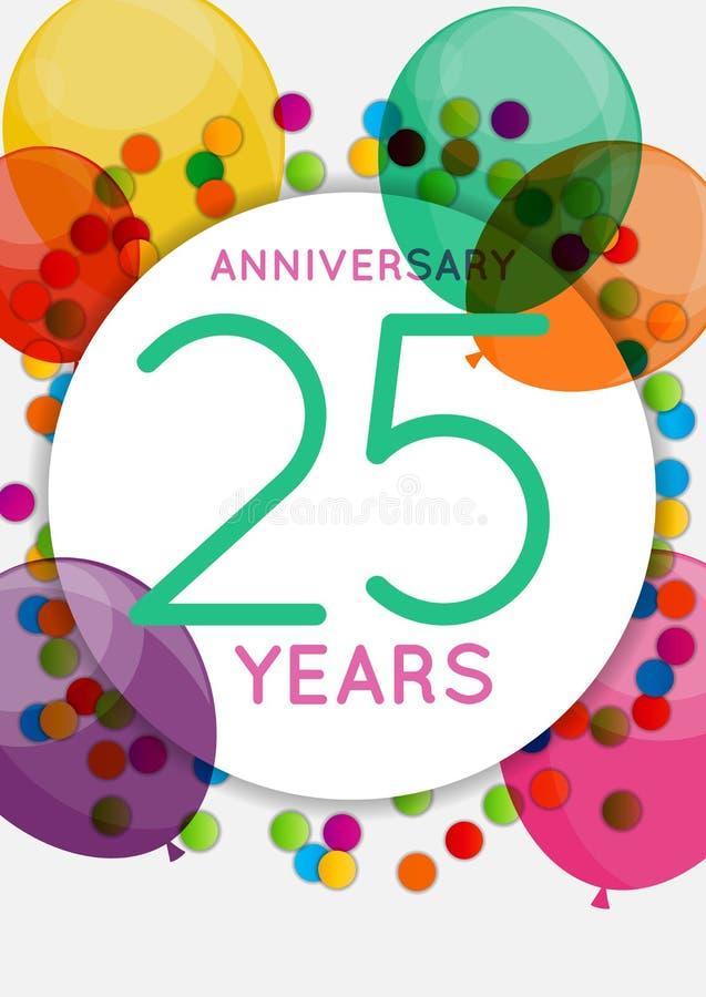 Modello 25 anni di congratulazioni di anniversario, cartolina d'auguri, illustrazione di vettore dell'invito illustrazione di stock