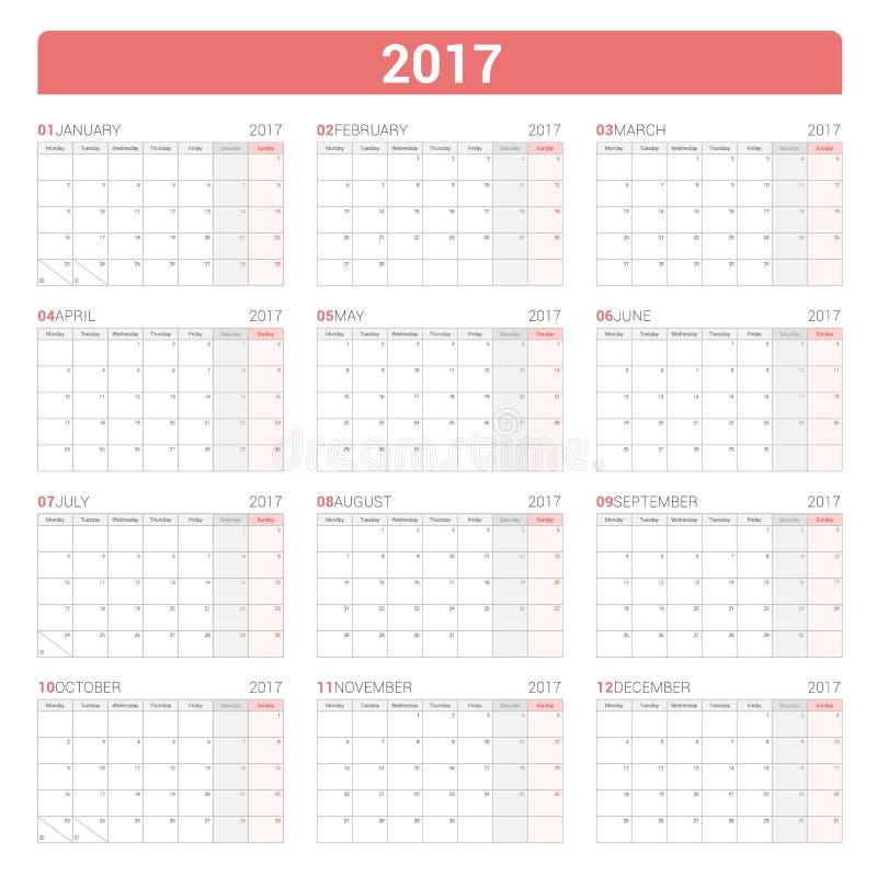 Modello annuale del pianificatore del calendario murale per 2017 anni Disegno di vettore La settimana comincia lunedì illustrazione vettoriale