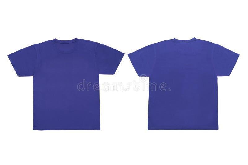 Modello anteriore e posteriore blu in bianco isolato della maglietta per derisione-u fotografia stock libera da diritti