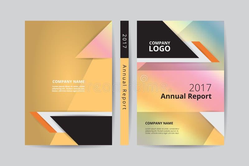 A4 modello anteriore e posteriore di progettazione del libro del rapporto annuale 2017 dell'oro di copertura illustrazione vettoriale