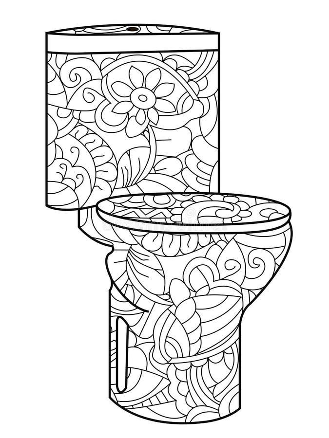 Modello antistress adulto della toilette con sciacquone di coloritura, Astrakan r illustrazione di stock