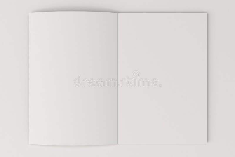 Modello aperto dell'opuscolo di bianco in bianco su fondo bianco royalty illustrazione gratis