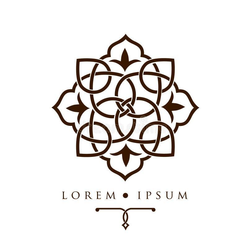 Modello arabo orientale di logo del modello di progettazione geometrica illustrazione di stock