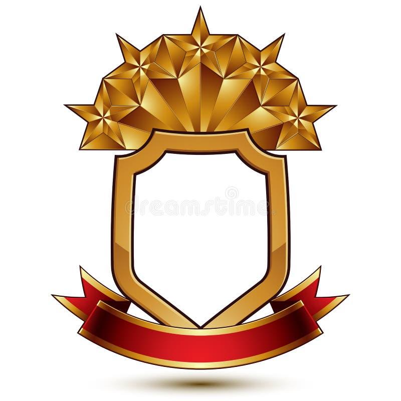 Modello araldico di vettore con la stella dorata pentagonale disposta sullo schermo di sicurezza e decorata con il nastro rosso,  royalty illustrazione gratis