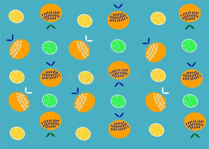 Modello arancio della frutta Limone del fondo delle arance di estate royalty illustrazione gratis