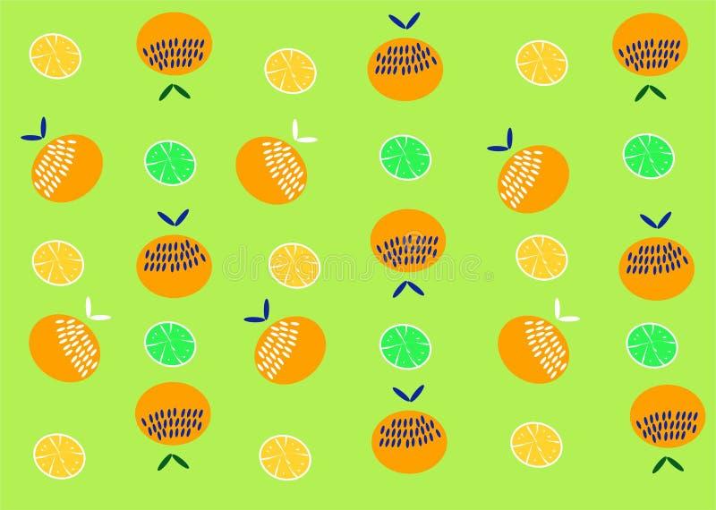 Modello arancio della frutta Limone del fondo delle arance di estate illustrazione vettoriale