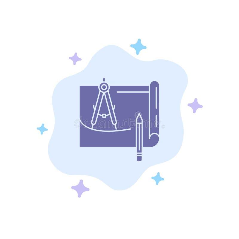 Modello, architettura, modello, costruzione, carta, icona blu di piano sul fondo astratto della nuvola royalty illustrazione gratis