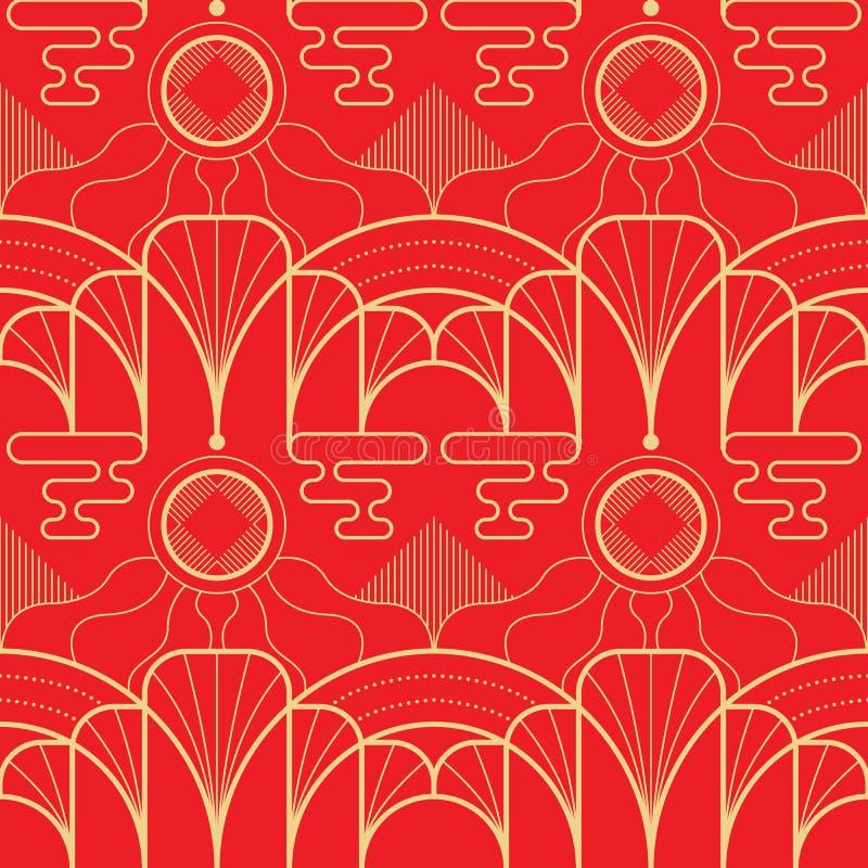Modello asiatico delle mattonelle geometriche moderne di vettore su fondo rosso illustrazione di stock