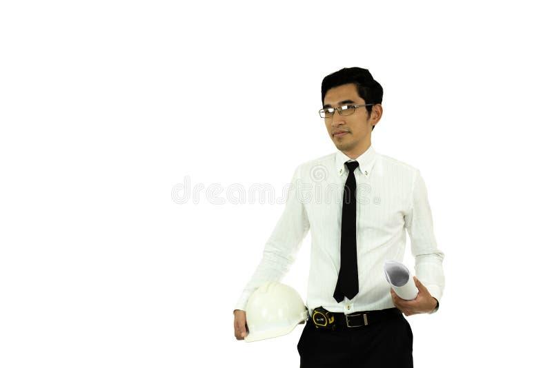 Modello asiatico ed elmetto protettivo della tenuta dell'architetto dell'uomo isolati fotografia stock libera da diritti