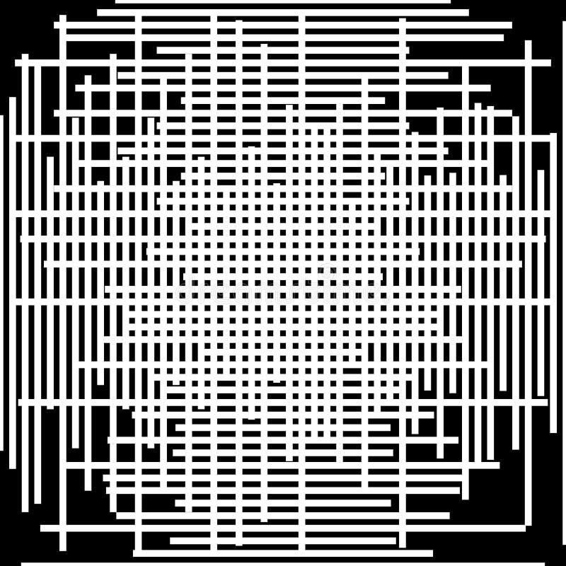Modello asimmetrico della maglia di griglia testo astratto monocromatico irregolare illustrazione vettoriale