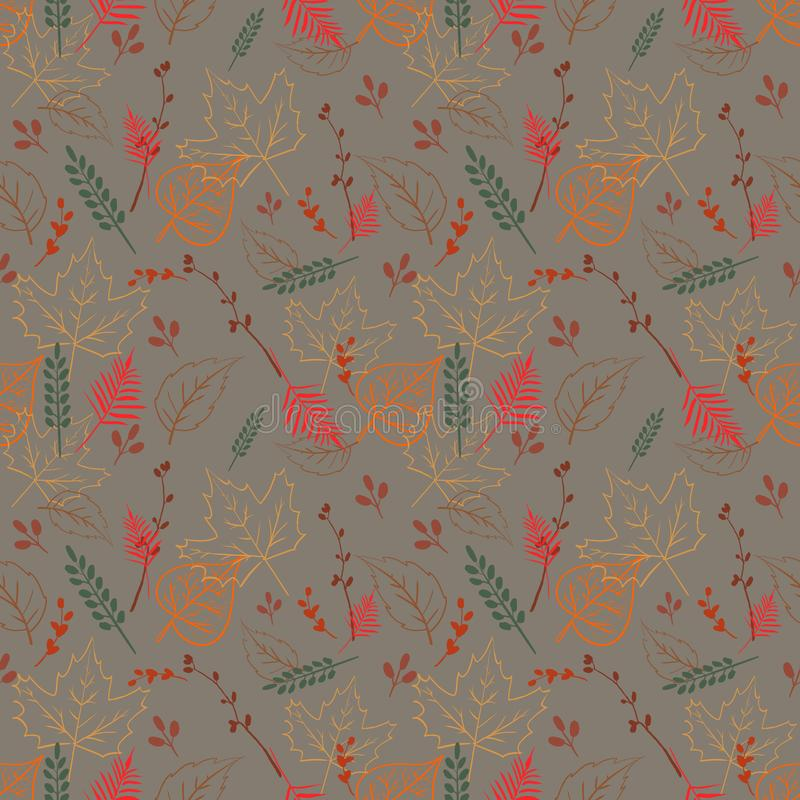 Modello asimmetrico senza cuciture con le foglie di autunno illustrazione di stock
