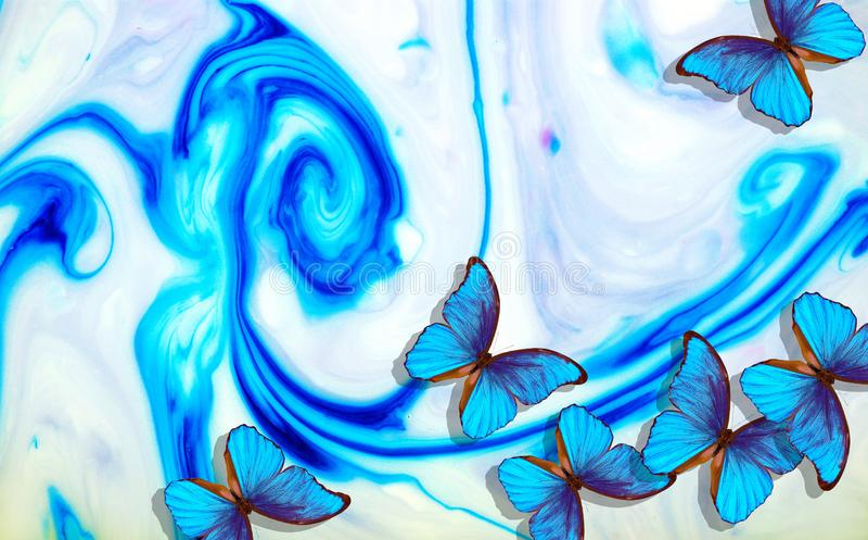 Modello astratto blu, verde e porpora Macchie blu, verdi e porpora Struttura astratta della vernice immagine stock