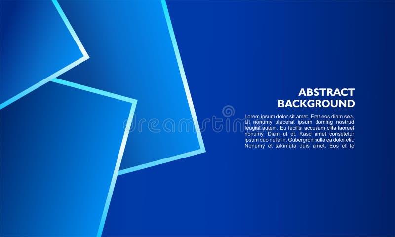 Modello astratto del fondo con forma quadrata di sovrapposizione e la linea metallica su colore blu illustrazione vettoriale