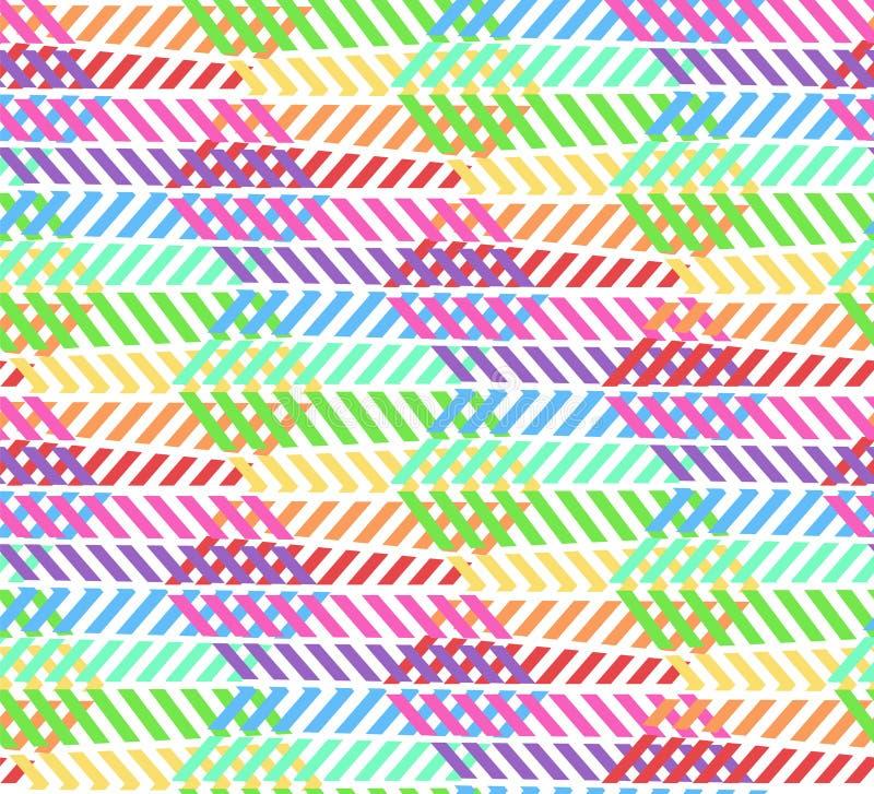 Modello astratto dell'arcobaleno di zigzag con il rombo illustrazione vettoriale