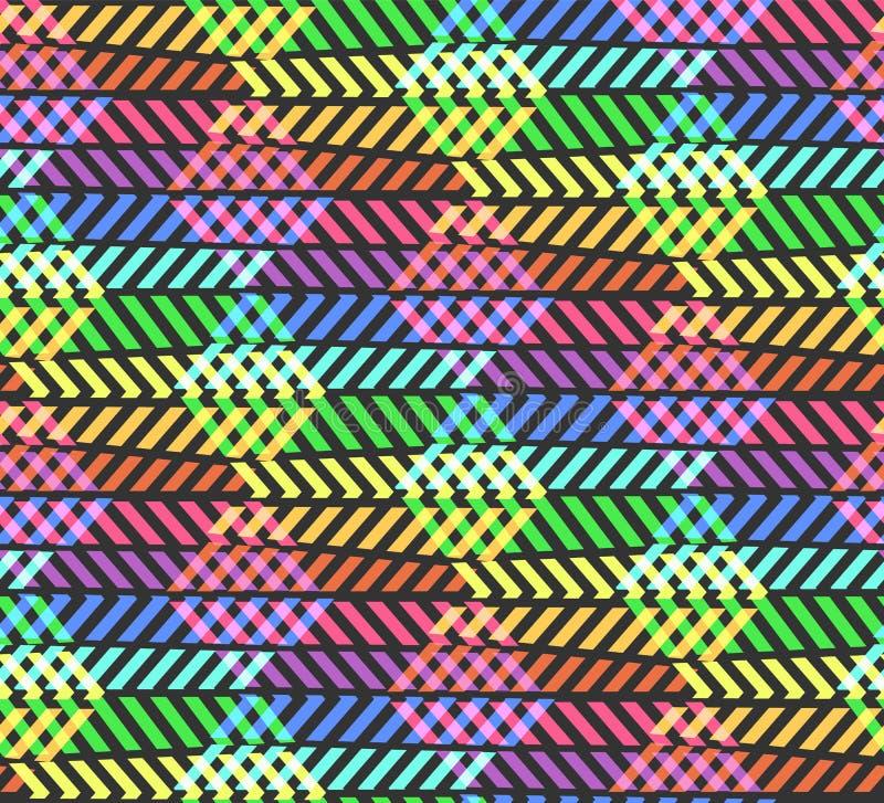 Modello astratto dell'arcobaleno di zigzag della rottura con il rombo fotografie stock libere da diritti