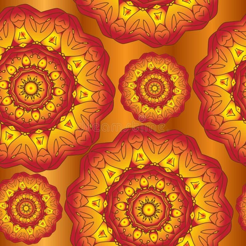 Modello astratto della mandala di autunno Fondo di autunno, retro carta da parati con gli ornamenti Priorità bassa del Brown Illu illustrazione di stock