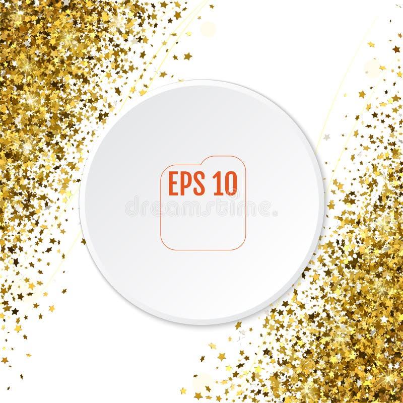 Modello astratto delle stelle d'oro di caduta casuali 3d su bianco indietro illustrazione vettoriale