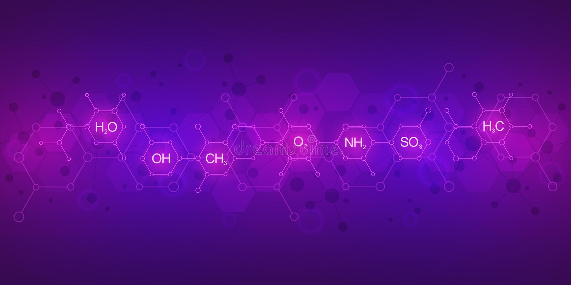 Modello astratto di chimica su fondo porpora con le formule chimiche e le strutture molecolari scienza ed innovazione illustrazione di stock
