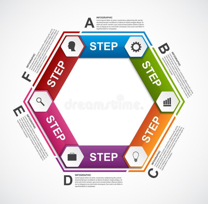 Modello astratto di infographics di esagono illustrazione di stock