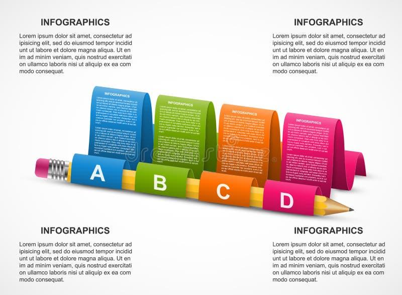 Modello astratto di infographics per le presentazioni di affari o l'opuscolo informativo Matita con i nastri illustrazione di stock