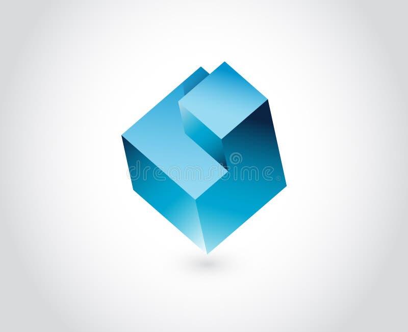 Modello astratto di logo. Cubo di puzzle di logica illustrazione di stock