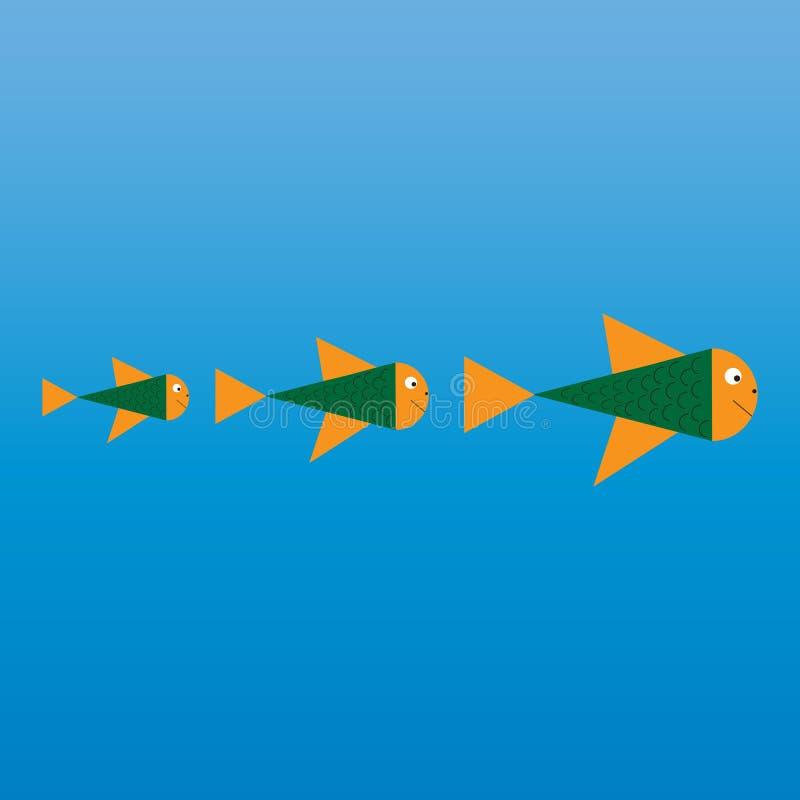 Modello astratto di logo di progettazione di vettore del pesce Concetto di progetto creativo Idea del ristorante dei frutti di ma royalty illustrazione gratis