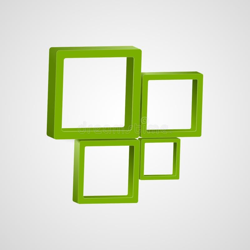 Modello astratto di progettazione di logo 3D Icona creativa dei quadrati illustrazione di stock