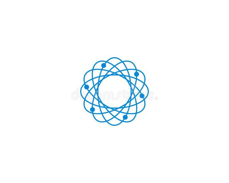 Modello astratto di progettazione di logo del DNA dell'atomo della molecola di biotecnologia illustrazione di stock