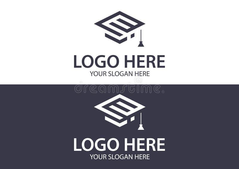 Modello astratto di progettazione di logo della lettera e - istruzione e concetto online di apprendimento royalty illustrazione gratis