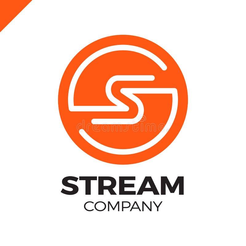 Modello astratto di progettazione di logo della lettera S, fuoco che si muove, segno rapido di velocità veloce di energia illustrazione di stock