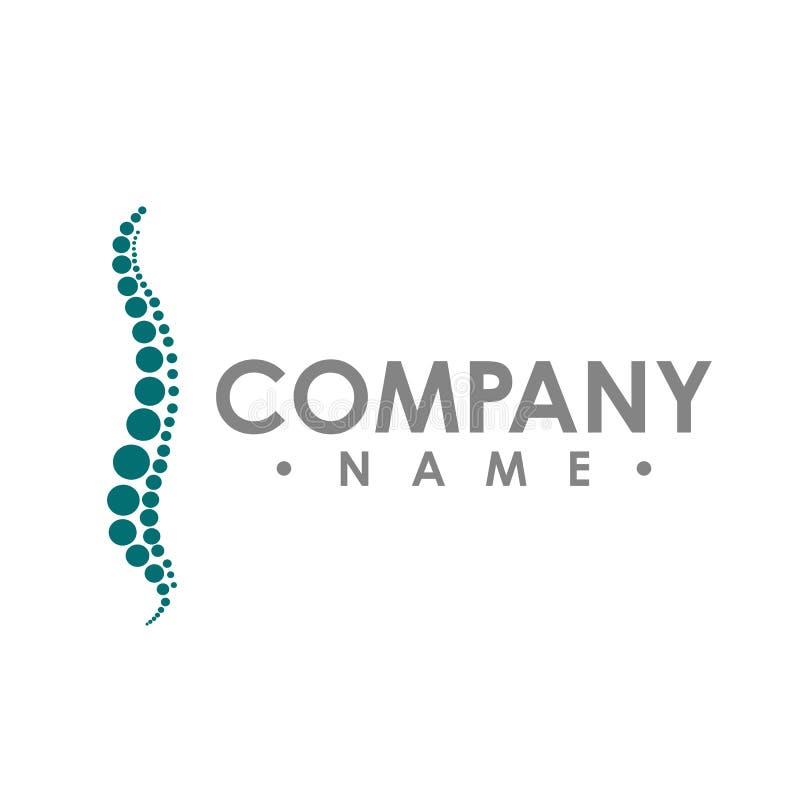 Modello astratto di progettazione di logo di vettore di chiroterapia chiropractic illustrazione vettoriale