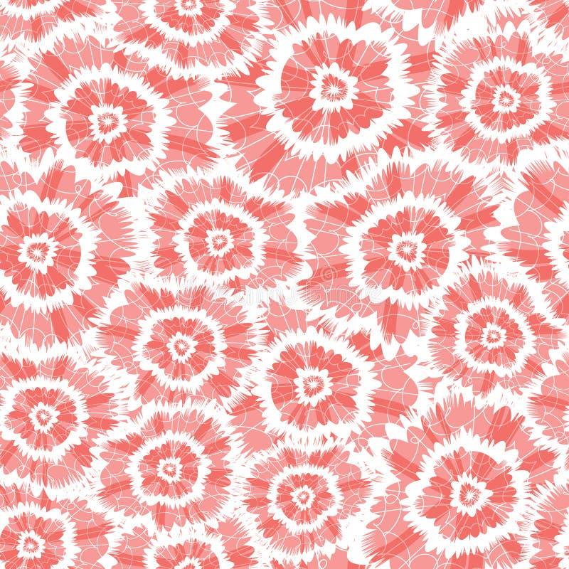 Modello astratto di shibori di vettore dei fiori rossi del cerchio Adatto a tessuto, ad involucro di regalo ed a carta da parati illustrazione di stock