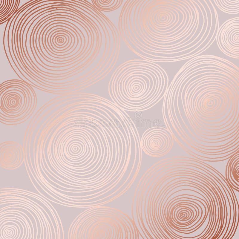 Modello astratto di vettore con l'imitazione rosa dell'oro Fondo decorativo per la progettazione illustrazione di stock