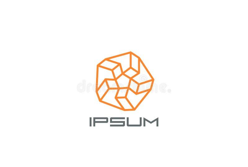 Modello astratto di vettore di progettazione di logo della stella Concetto lineare del Logotype illustrazione di stock