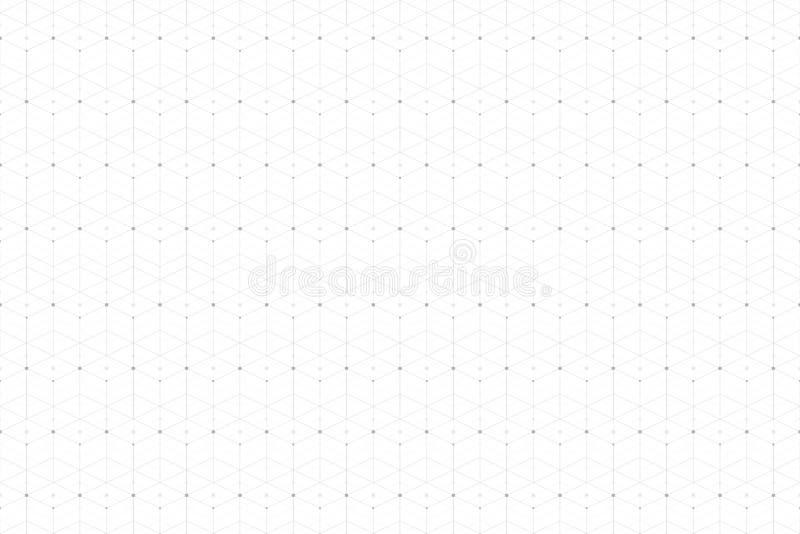 Modello astratto geometrico con la linea ed i punti collegati Connettività senza cuciture grafica del fondo Alla moda moderno illustrazione vettoriale