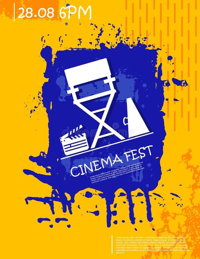 Modello astratto moderno del manifesto di lerciume per il festival cinematografico illustrazione di stock