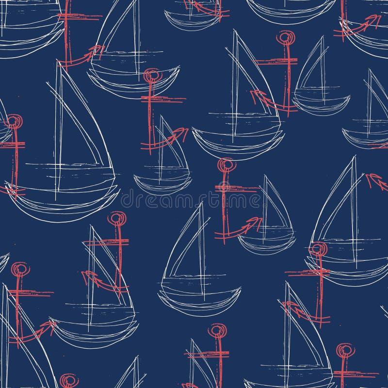 Modello astratto senza cuciture con l'ancora rossa schizzata e la barca a vela bianca con un fondo della marina illustrazione vettoriale