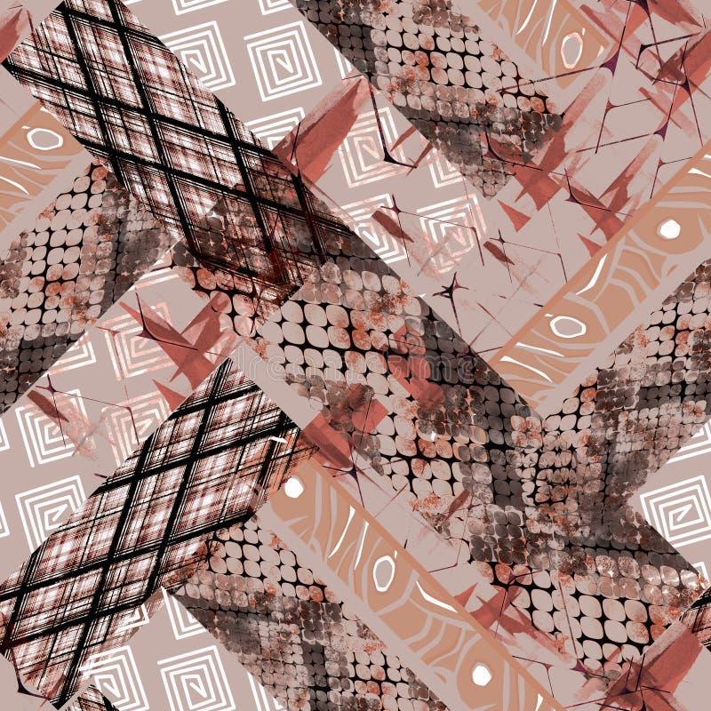 Modello astratto senza cuciture di progettazione africana fondo con un effetto dell'acquerello, rappezzatura illustrazione di stock