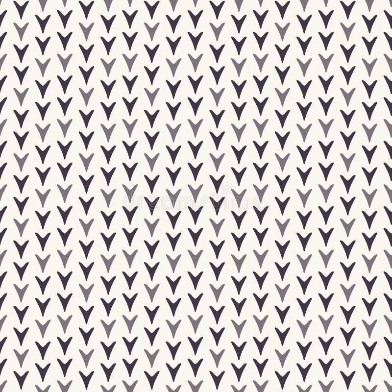 Modello astratto tirato del fogliame di Natale Foglia minuscola del cuore sul fondo bianco di ecru Vacanza invernale sveglia da o illustrazione di stock