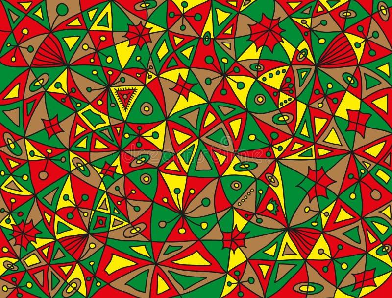 Modello astratto variopinto del pesce nei colori verdi, rossi, marrone chiaro e gialli illustrazione di stock