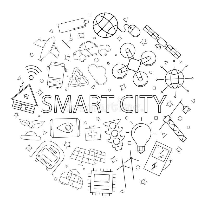 Modello astuto della città di vettore con la parola illustrazione vettoriale