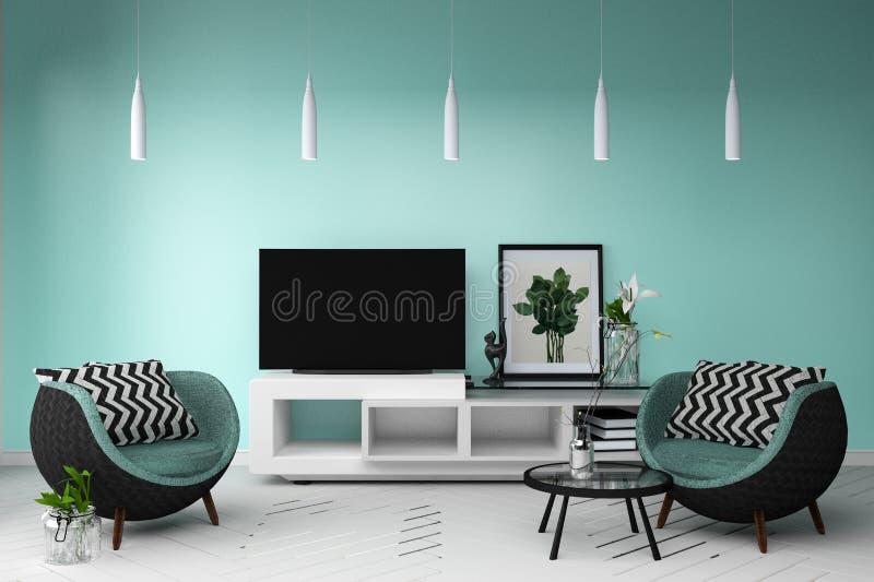 Modello astuto della TV con stanza con la tavola del supporto della decorazione della lampada e del sofà rappresentazione 3d illustrazione vettoriale
