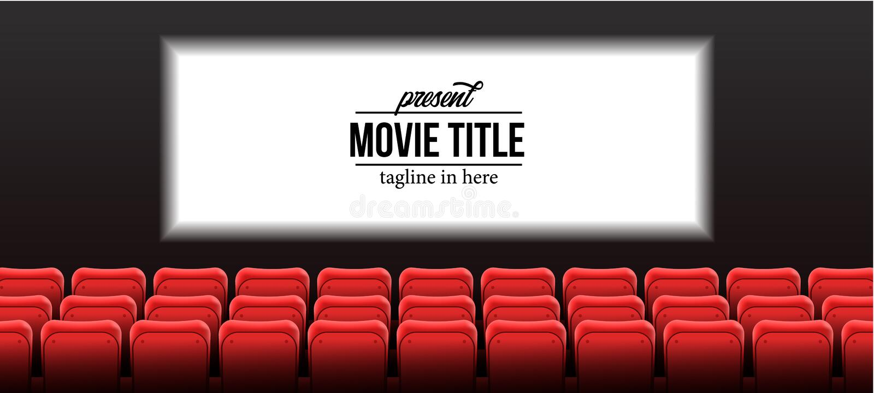 Modello attuale di nome di manifestazione con i posti vuoti rossi al cinema del cinema con lo schermo immagine stock