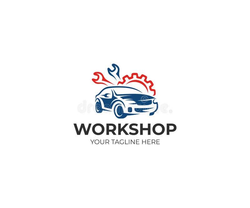 Modello automatico di logo dell'officina Progettazione automatica di vettore di servizio illustrazione vettoriale