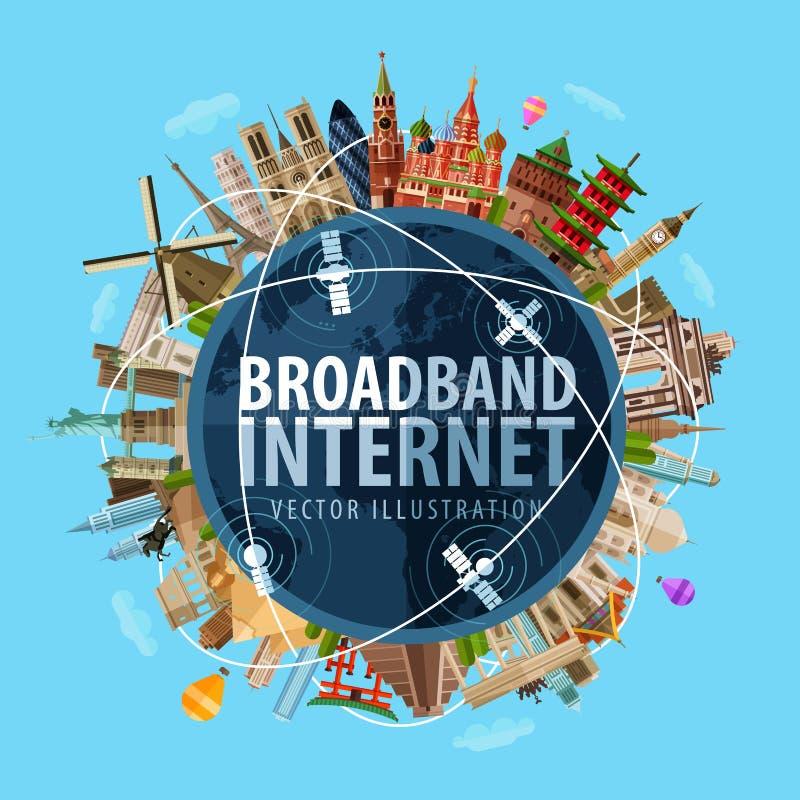 Modello a banda larga di progettazione di logo di vettore di Internet illustrazione vettoriale