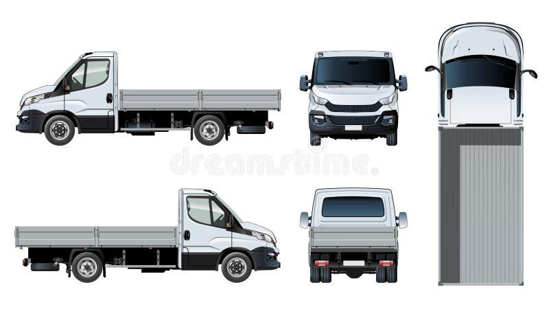 Modello a base piatta del camion di vettore isolato su bianco royalty illustrazione gratis