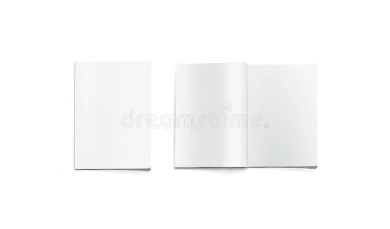Modello in bianco aperto e chiuso della rivista, isolato immagine stock libera da diritti