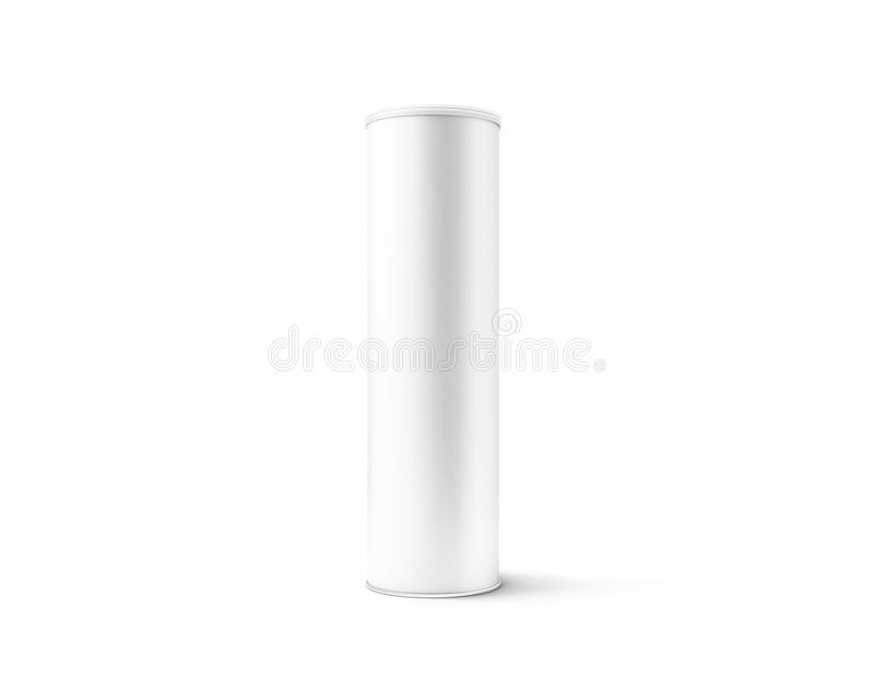 Modello bianco in bianco del contenitore di cilindro del cartone con il coperchio di plastica illustrazione di stock