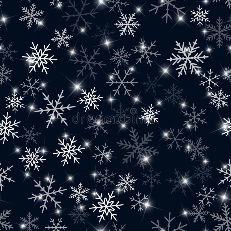 Modello bianco dei fiocchi di neve sul Natale nero illustrazione vettoriale